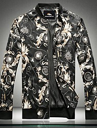 Men's Long Sleeve Jacket , Polyester Casual Print