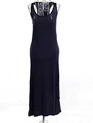 Women's Solid Blue/Black/Green/Yellow/Beige Dress , Casual/Maxi U Neck Sleeveless