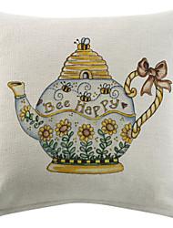 Honey Bee Tea Pot Cotton/Linen Printed Decorative Pillow Cover