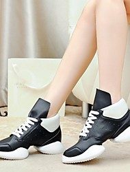 Non Customizable Women's Dance Shoes Dance Sneakers Leather Low Heel Black