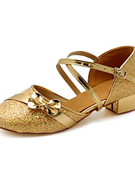 Kids' Dance Shoes Modern Paillette Chunky Heel Silver/Gold