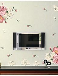 stickers muraux, stickers muraux de style fleur de pivoine pvc stickers muraux