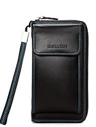 BOSTANTEN Men's Top Split Leather Snap and Zipper Wallet