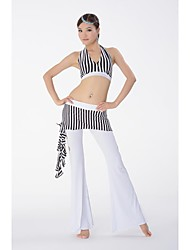 Belly Dance Practice Stripe Costume Elegant Outfits Top and Pants