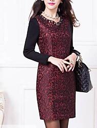 grande porte slim fit de manga longa vestidos de renda das mulheres