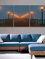 E-HOME® Stretched LED Canvas Print Art Street Lamp Flash Effect LED Flashing Optical Fiber Print Set of 3