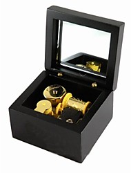 Wind-up Wooden Musical Box with Gold Movement in,Play Edelweiss Song