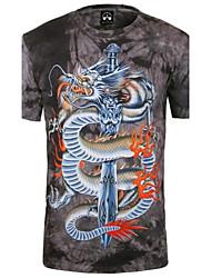 klif wandelaar mannen ronde hals zomer mode draak dier 3d gedrukte korte mouw t-shirt