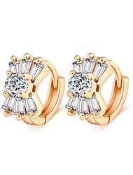 Woman's Fashion Gold Crystal Zircon Earrings