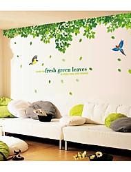 stickers muraux stickers muraux, style feuilles vertes fraîches et pvc des oiseaux stickers muraux