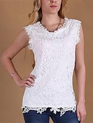 rodada camisa do laço do pescoço das mulheres, misturas de algodão sem mangas