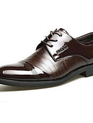 Men's Spring / Summer / Fall / Winter Pointed Toe Patent Leather / Leather Party & Evening Chunky Heel Lace-up / Split Joint Black / Brown