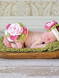 1 peças de moda infantil baby girl grande flor terno branco handmade crochet recém-nascido infantil traje de malha 0-6 mês
