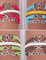 pulseras eruner®leather multicapa corazón y amor aleación encantos pulseras hechas a mano