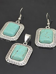 Toonykelly Vintage Antique Silver Plated Oblong Turquoise(Earring and Necklace) Jewelry Set