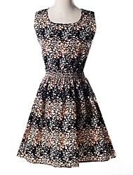 sin mangas floral fresco vestido delgado de la gasa de la venta caliente del verano de las mujeres