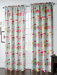 (Two Panels) Reiterative Cartoon Houses Pattern Curtain