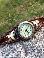 Women's High Quality Round Head Leather Quartz Movement Bracelet Watches