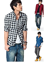PROMOTION Men's Slim Fit Plaid  Long Sleeve Men's Shirts