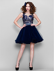 Cocktail Party Dress - Dark Navy Plus Sizes / Petite Ball Gown Jewel Short/Mini Lace / Tulle
