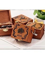 Mini caixa de música do vintage mão-operado de madeira