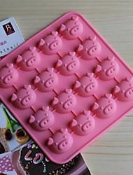 16 Loch Schweinform Kuchen Eis Gelee Schokoladenformen, Silikon 17 × 17 × 1,8 cm (6,7 x 6,7 x 0,8 Zoll)