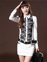 trabalhador lapela camisa magro moda feminina