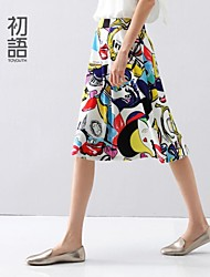 Women's Multi-color Skirts , Casual Knee-length