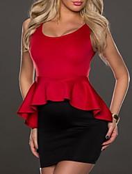 глубоко у мини-платье, лайкра красный сексуальный женский