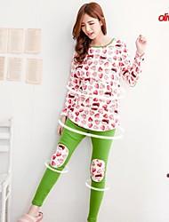bearsland fleece maternidade engrossar fleece conjunto sleepwear grávida pulôver com calças cópia bonito plus size pijama