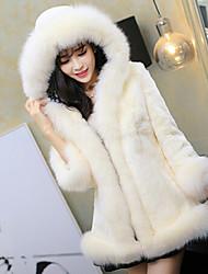 deewo moda abrigo de piel de zorro cuello ocasional de la mujer