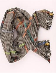Women's Grey Thicken Plaid Wool Scarf
