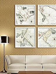 e-home® arte lona moldada, mapa quadro tela de definição de impressão de 4