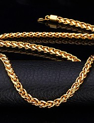 U7® Twisted Rope Chain Necklace 18K Real Gold Plated Long Chunky Necklace for Men Fashion Jewelry