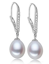 Women's Freshwater Pearl with Rhinestone Long Earrings(More Colors)
