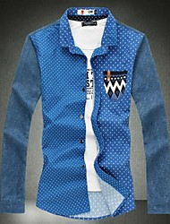 Men's A New Spring Cotton Big Code Printing Splicing Sleeved Shirt