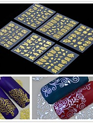 6PCS  3D Golden Flower  Nail Art Stickers