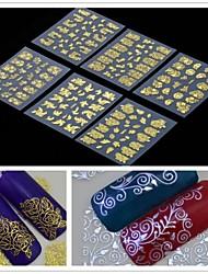 6шт 3d золотой цветов Nail Art наклейки
