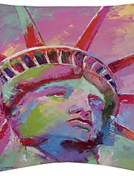 estátua colorida de liberdade de veludo capa de travesseiro decorativo