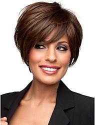 brevi marrone chiaro ondulate parrucche dei capelli umani senza cappuccio con botto lato
