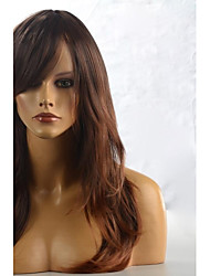 Long Brown Yellow Natural Wave Hair Wig with Side Bang