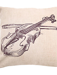 "createforlife® 18 ""ретро эскиз скрипка хлопок белье квадрат декоративные подушки"
