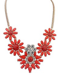Women's Fashion Temperament Color Gem Flower Alloy Necklace