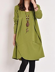 Women's Solid Pink/Black/Green/Yellow Dress , Casual Round Neck Long Sleeve
