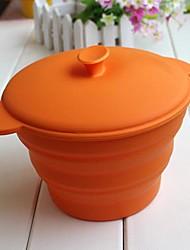 bowl desdobrável com tampa para as crianças ou acampamento ao ar livre, material de silicone segura de alimentos, cor aleatória