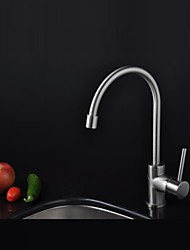 Contemporary Nickel Finish Single Handle  Single Hole Brass Kitchen Faucet