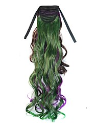 24 Inch Long Women Mixcolor Dark Brown Purple Green Wavy Horsetail Ponytails