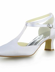 Women's Summer T-Strap Satin Wedding Kitten Heel Buckle Black Blue Yellow Pink Purple Red Ivory White Silver Champagne