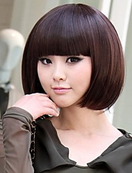 Chestnut Brown Bobo Short Straight Hair Wig with Full Bang Reality
