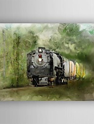 Oil Painting Still Life Train Painting Hand Painted Canvas with Stretched Framed
